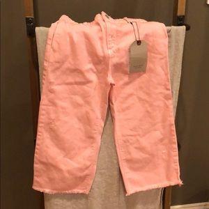 Pink cropped denim